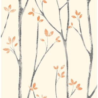 Ingrid Orange Scandi Tree Orange Wallpaper Sample