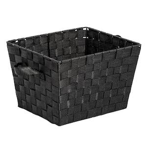 12 in. D x 10 in. W x 8 in. H Black Polypropylene Woven Bins (Set of 2)