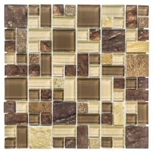 Native Ocean Brown 11.875 in. x 11.875 in. Square Mixed Glass and Slate Mosaic Tile (0.979 sq. ft./Each)