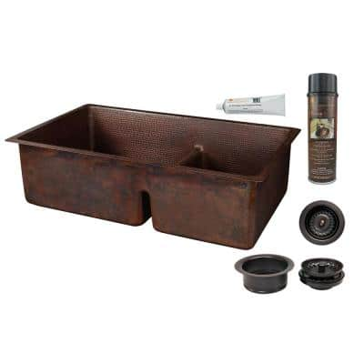 Dual-Mount Copper 33 in. 60/40 Double Bowl Short Divide Kitchen Sink and Drain in Oil Rubbed Bronze