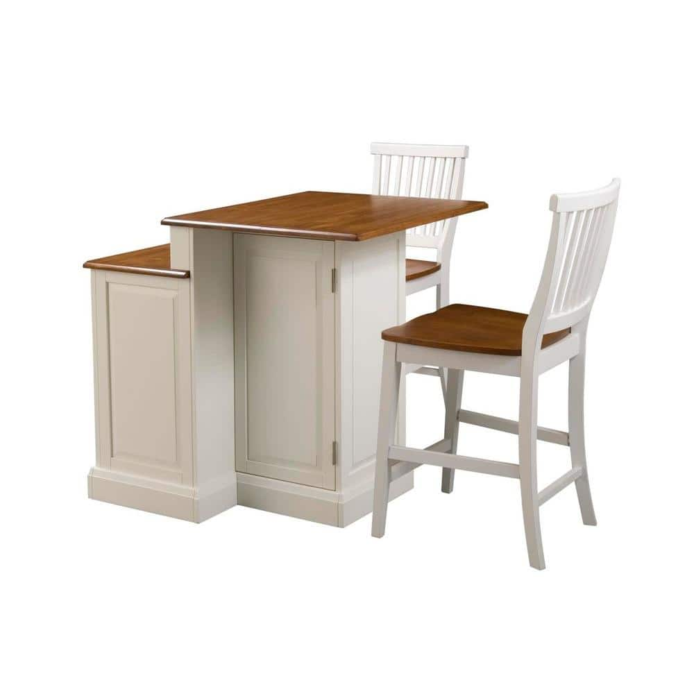 Homestyles Woodbridge White Kitchen Island With Seating 5010 948 The Home Depot