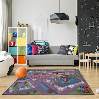 PJ Masks Play Multi-Colored 5 ft. x 7 ft. Indoor Juvenile Area Rug