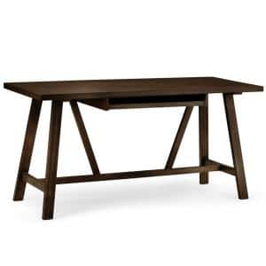 60 in. Rectangular Tobacco Brown Writing Desk with Solid Wood Material