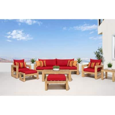 Benson 8-Piece Wood Patio Conversation Set with Sunbrella Sunset Red Cushions