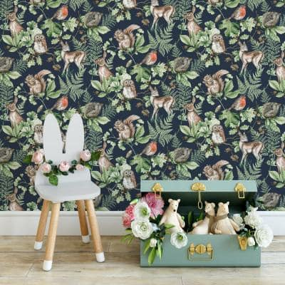 Woodland Animals Navy Paper Strippable Roll (Covers 56 sq. ft.)