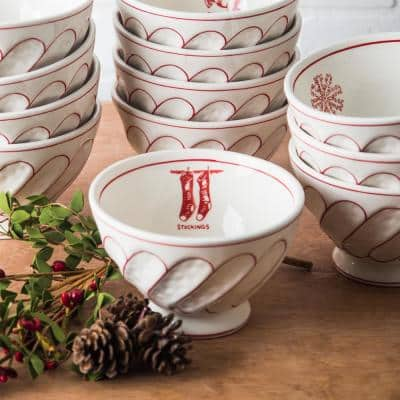 6 in. D Footed Stockings Cereal Bowl