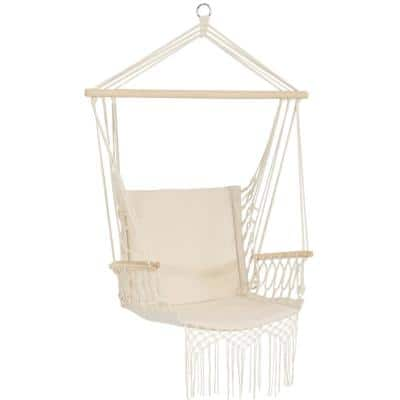Polycotton 48 in. Hammock Chair with Armrests in Natural