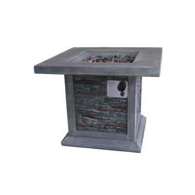 Guanacaste 29.9 in. Square MGO Gas Outdoor Fire Pit in Gray