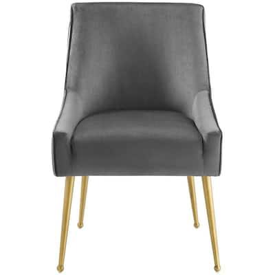 Discern Gray Pleated Back Upholstered Performance Velvet Dining Chair