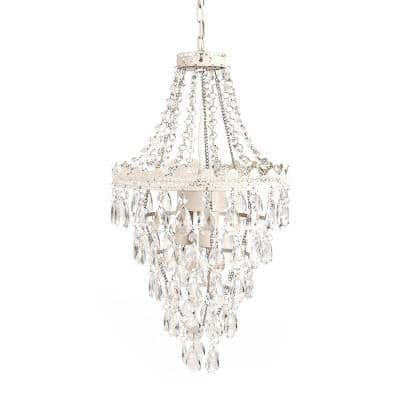 1-Light Antique White Diamond Pendant Lamp Chandelier