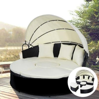 2-in-1 Rattan Round Retractable Outdoor Patio Canopy Daybed with Beige Cushion