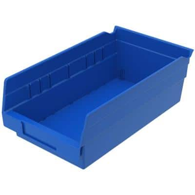 Akro Mils Shelf Bin 15 Lbs 11 5 8 In X 6 5 8 In X 4 In Storage Tote In Blue With 0 8 Gal Storage Capacity 12 Per Carton 30130blue The Home Depot