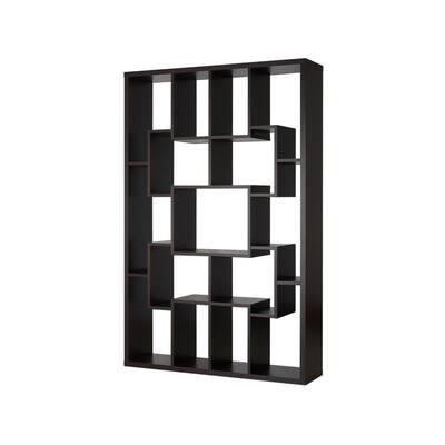 71.2 in. Walnut Wood 15-shelf Etagere Bookcase with Open Back