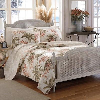 Bonny Cove Spice 3-Piece Beige Floral Cotton Full/Queen Quilt Set