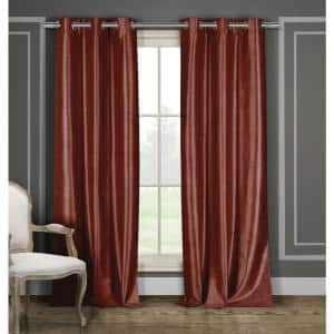 Solid Wine Polyester Blackout Grommet Window Curtain - 36 in. W x 84 in. L (2-Pack)