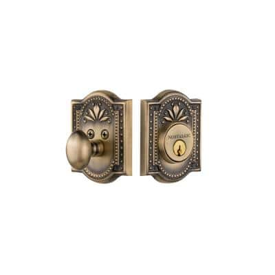 Meadows Plate 2-3/8 in. Backset Single Cylinder Deadbolt in Antique Brass