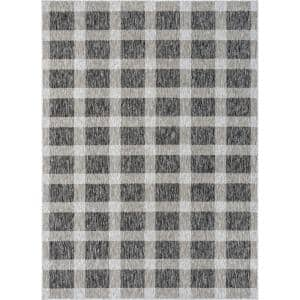 Medusa Freya Grey Checkered 5 ft. 3 in. x 7 ft. 3 in. Indoor/Outdoor Area Rug