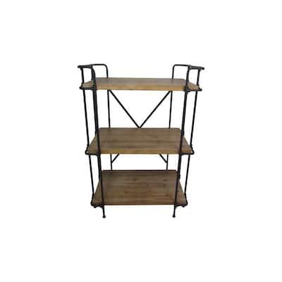 Cedarburg 40.75 in. Antique Brown Wood 3-Shelf Etagere Bookcase