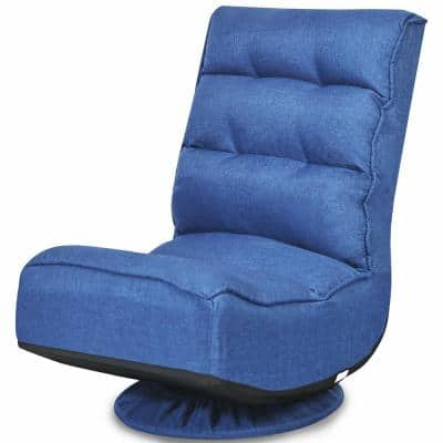 """Navy Gaming Chair Folding Lazy Sofa with 5-Position 360 Degree Swivel (32.5"""" H x 23"""" W x 29.5"""" D)"""