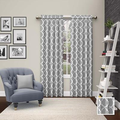gray Trellis Rod Pocket Room Darkening Curtain - 56 in. W x 63 in. L  (Set of 2)