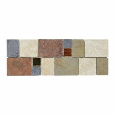 Continental Slate 4 in. x 12 in. x 6 mm Porcelain Decorative Accent Mosaic Floor and Wall Tile (0.3333 sq. ft. / piece)