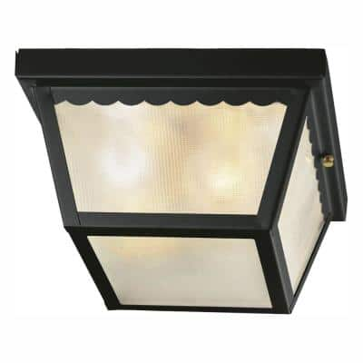 2-Light Matte Black Outdoor Flushmount