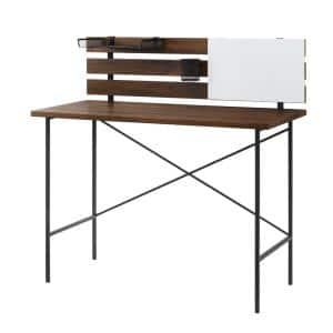 42 in. Rectangle Dark Walnut Wood and Metal Urban Farmhouse Plank Back Writing Desk with Adjustable Supply Storage