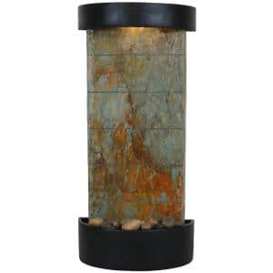 25 in. Slate Indoor Wall or Tabletop Cascade Water Fountain, Slate Facade with Black Frame