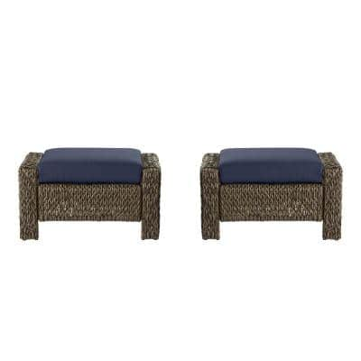 Laguna Point Brown Wicker Outdoor Patio Ottoman with CushionGuard Midnight Navy Blue Cushions (2-Pack)