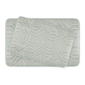 Chain Ring Light Gray Memory Foam 2-Piece Bath Mat Set