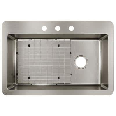 Avenue Drop-in/Undermount Stainless Steel 33 in. Single Bowl Kitchen Sink with Bottom Grid