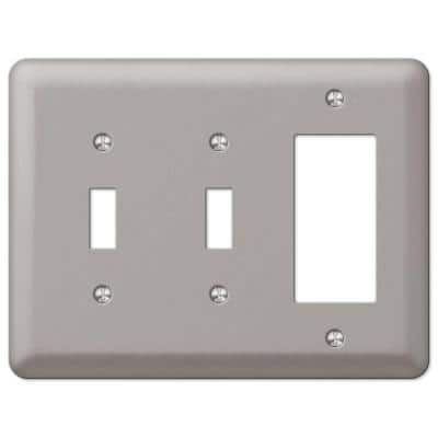 Declan 3 Gang 2-Toggle and 1-Rocker Steel Wall Plate - Pewter