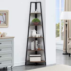 72 in. Gray Brown Wood 5-Shelf Corner Bookcase with Black Metal Frame
