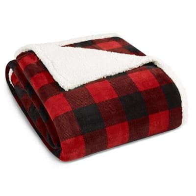 Mountain Plaid Ultra Soft 1-Piece Red Sherpa Microfiber Full/Queen Blanket