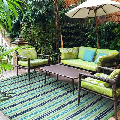 Multi 6 ft. x 9 ft. Geometric Stripe Polypropylene Indoor/Outdoor Area Rug