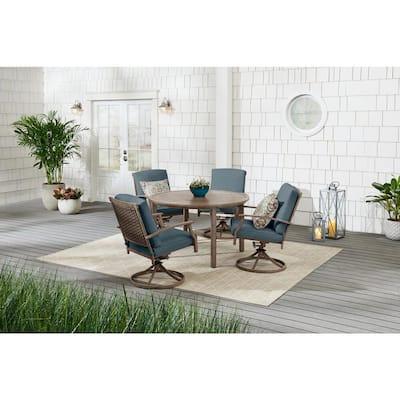 Geneva 5-Piece Brown Wicker Outdoor Patio Dining Set with Sunbrella Denim Blue Cushions