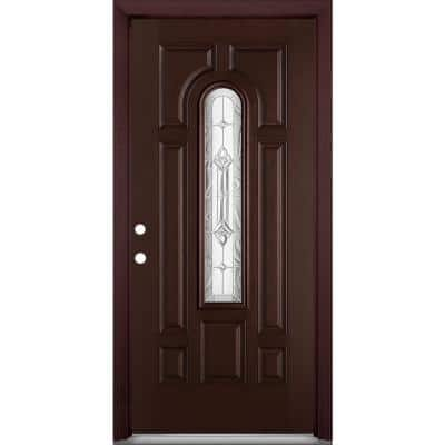 36 in. x 80 in. Providence Center Arch Merlot Right-Hand Stained Textured Fiberglass Prehung Front Door with Brickmold