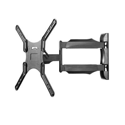 Full Motion Single Stud TV Wall Mount with Tool-less Tilt for 26 in. - 55 in. TVs in Black