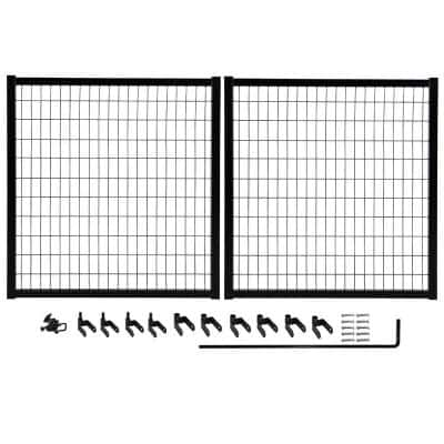 10 ft. W x 4 ft. H Powder-Coated Steel Double Drive Fence Gate Kit