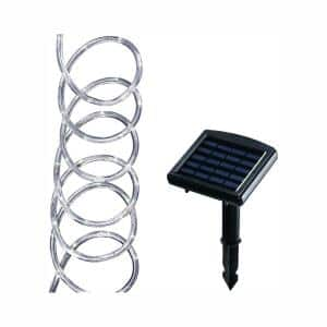 Solar Powered 16 ft. Clear Outdoor Integrated LED 5000K Day Light Landscape Rope Light with Remote Panel