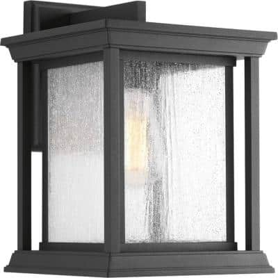 Endicott Collection 1-Light Textured Black Clear Seeded Glass Craftsman Outdoor Large Wall Lantern Light