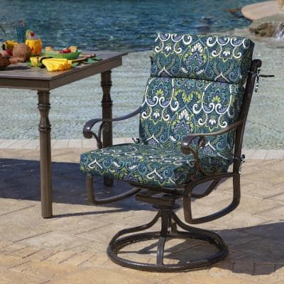 21 in. x 20 in. Sapphire Aurora Damask Outdoor Dining Chair Cushion