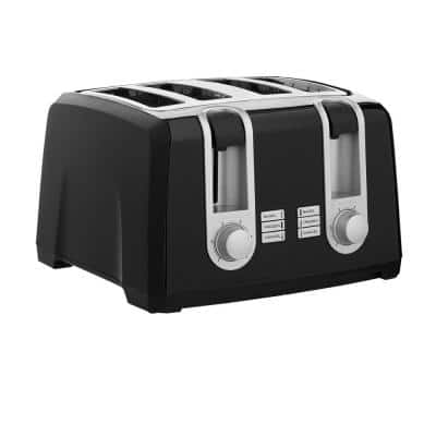 4-Slice Black Extra-Wide Slot Toaster with Browning Control