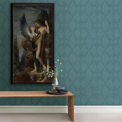Intrinsic Teal Textured Geometric Teal Wallpaper Sample