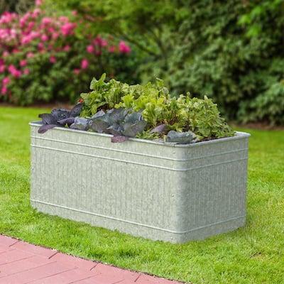 Vintage Galvanized Metal Rectangle Raised Garden Trough