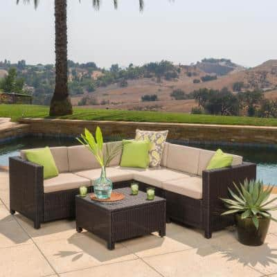 Noble House Puerta Dark Brown 6-pc Wicker Outdoor Sectional Set with Beige Cushions