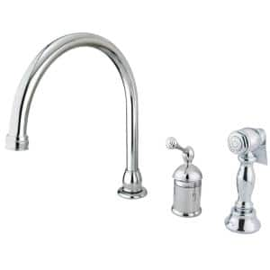 Georgian Single-Handle Standard Kitchen Faucet with Side Sprayer in Polished Chrome