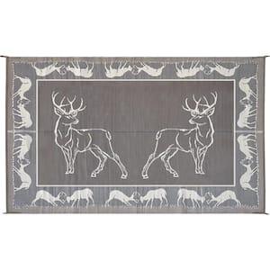 9 ft. x 12 ft. Deer Black/Beige Reversible Mat
