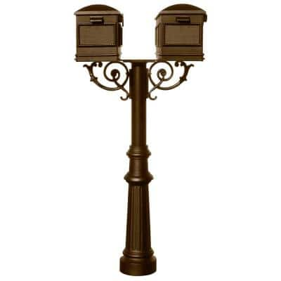 Hanford Bronze Post Mount Non-Locking Twin Mailbox with Scroll Supports
