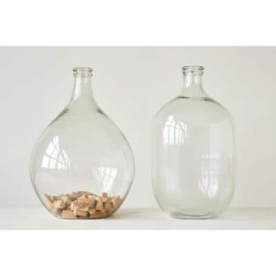 18.5 in. H Clear Round Glass Bottle